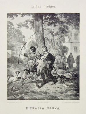 GROTTGER Art[ur] - Szkoła szlachcica polskiego. [Warszawa] 1899. Wyd. Leona Humnickiego. folio, tabl. 4....