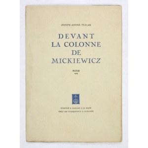 TESLAR J. A. – Devant la Colonne de Mickiewicz. 4. publikacja florenckiej oficyny S. Tyszkiewicza....
