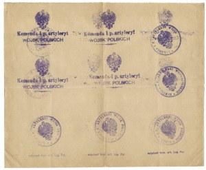 [LEGIONYPolskie, pieczęcie]. Zbiór 71 wzorów pieczątek legionowych odbitych na 4 arkuszach i na dołączonej kopercie.