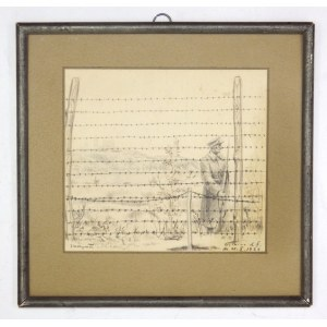 [OBÓZprzejściowy w Tiotkinie (Ciotkinie), rysunek]. Rysunek ołówkiem, podkolorowany kredką, przedstawiający strażnika z...