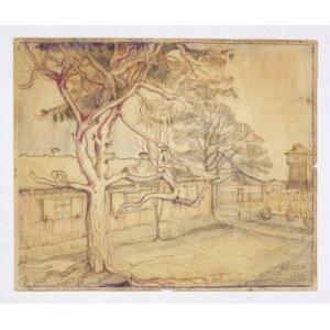 [OBÓZkoncentracyjny w Bergen-Belsen, rysunek]. Rysunek kredkami przedstawiający baraki obozowe i wieżę wartowniczą, aut...