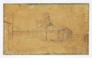 [OBÓZkoncentracyjny w Bergen-Belsen, rysunek]. Rysunek ołówkiem, kolorowany akwarelą, przedstawiający barak obozowy i w...