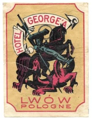 [LWÓW, Hotel George, naklejka bagażowa]. Hotel George'a, Lwów, Pologne. Lata międzywojenne.