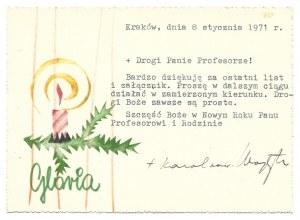 [WOJTYŁA Karol]. Podpis kardynała Karola Wojtyły pod maszynopisowym listem, dat....