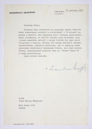 [WOJTYŁAKarol]. Podpis kardynała Karola Wojtyły pod maszynopisowym listem kierowanym do Józefa Święcickiego,...