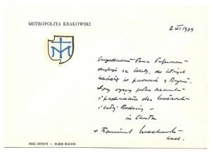 [MACHARSKIFranciszek]. Odręczny krótki list kardynała Franciszka Macharskiego na karcie korespondencyjnej,...