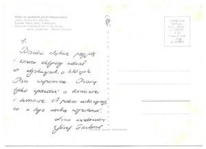 [TISCHNER Józef]. Odręczny list ks. Józefa Tischnera do nieznanego adresata, pisany na pocztówce;...