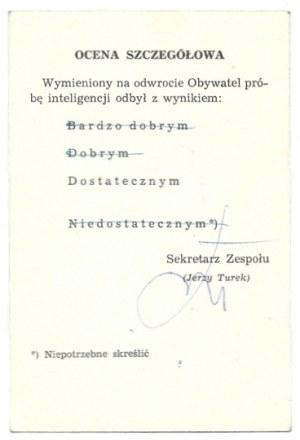 [DOBROWOLSKI Jerzy, TUREKJerzy]. Podpisy obu artystów na żartobliwym zaświadczeniu wydanym przez Kabaret Owca,...