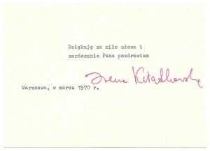 [KWIATKOWSKAIrena]. Podpis aktorki na grzecznościowych maszynopisowych podziękowaniach, dat....