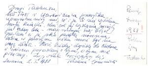 [ŁOMNICKITadeusz]. Odręczny list i życzenia noworoczne na karcie okolicznościowej, dat....