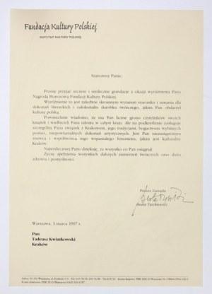 [TYSZKIEWICZBeata]. Podpis aktorki pod listem gratulacyjnym kierowanym do krakowskiego literata Tadeusza Kwiatkowskiego...