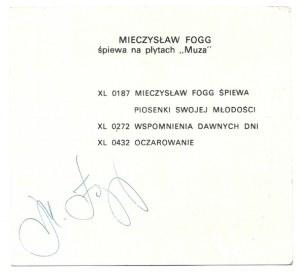 [FOGGMieczysław]. Podpis piosenkarza na karcie reklamującej jego płyty wydane przez Polskie Nagrania.
