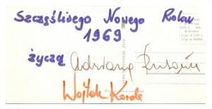 [RUSOWICZAdrianna,KORDA Wojciech]. Podpisy obojga muzyków pod odręcznymi życzeniami noworocznymi....