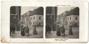 [KRAKÓW - cyganki pod Wawelem - fotografia sytuacyjna]. [1906]. Fotografia stereoskopowa form. 6,...
