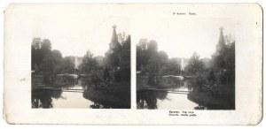 [KRAKÓW - Planty - fotografia widokowa]. 1906. Fotografia stereoskopowa form. 6,4x6,8 cm razy 2 na podkładzie form....