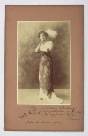 [TEATR - Irena TRAPSZO - fotografia portretowa z odręczną dedykacją]. [1913]. Fotografia form. 19,8x12,...