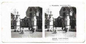 [WARSZAWA - Kościół Panny Maryi - fotografie sytuacyjne]. 1905. Zestaw 2 fotografii stereoskopowych form. 6,...