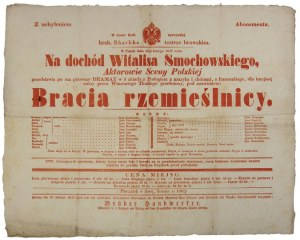 1847. Lwowski Teatr Skarbka. Afisz