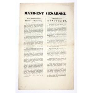 1848. Manifest w sprawie zamieszek w Wiedniu