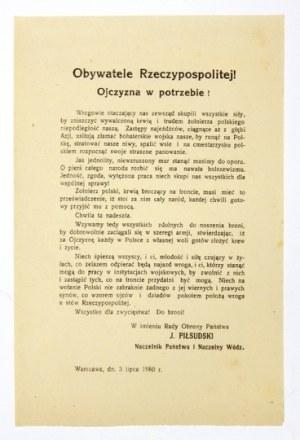 1920. Wojna polsko-sowiecka. Piłsudski wzywa pod broń!