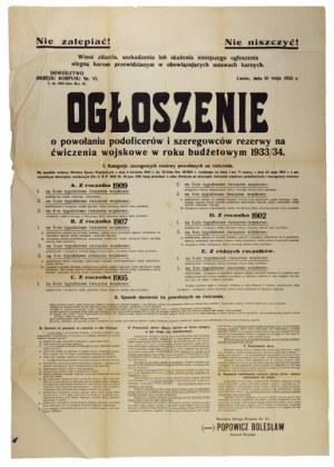 OGŁOSZENIEo powołaniu podoficerów i szeregowców rezerwy na ćwiczenia wojskowe w roku budżetowym 1933/34 [...]....