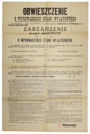 OBWIESZCZENIEo wprowadzeniu stanu wyjątkowego. Na podstawie art. 1 ustawy z dnia 22.II....