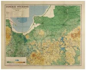 [POMORZE]. Pomorze Wschodnie. Mapa fizyczno-administracyjna. (Podział adm. wg. stanu z r. 1939). Mapa barwna form....