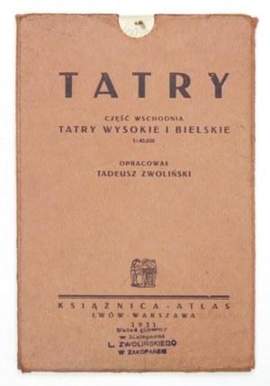 [TATRY]. Tatry. Część wschodnia: Tatry Wysokie i Bielskie. Mapa barwna form. 67,4x65,...