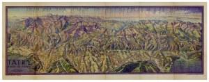 [TATRY]. Tatry. Widok od północy. Barwna mapa panoramiczna form. 26,8x78 cm.