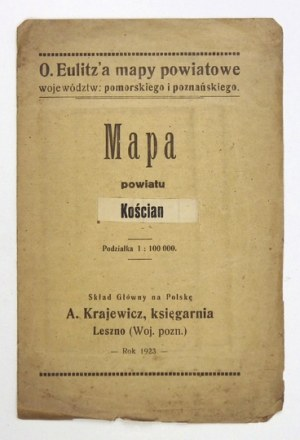 [WIELKOPOLSKA]. Kreis Kosten. Mapa barwna form. 34,8x35,6 cm.