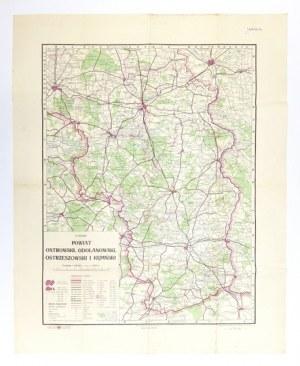 [WIELKOPOLSKA]. Powiat ostrowski, odolanowski, ostrzeszowski i kępiński. Mapa barwna form. 54,7x41,...