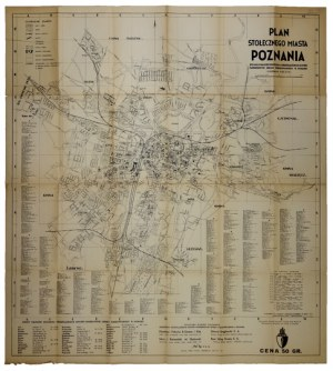 [POZNAŃ]. Plan stołecznego miasta Poznania. Plan form. 73,7x66,7 cm.