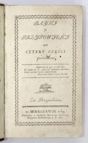 [KRASICKIIgnacy] – Bayki y przypowieści. 1779. Wyd. I.