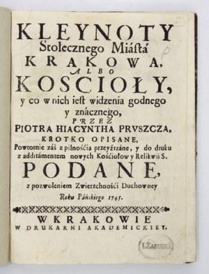 Pierwszy przewodnik po kościołach Krakowa. 1745. Wyd. III.