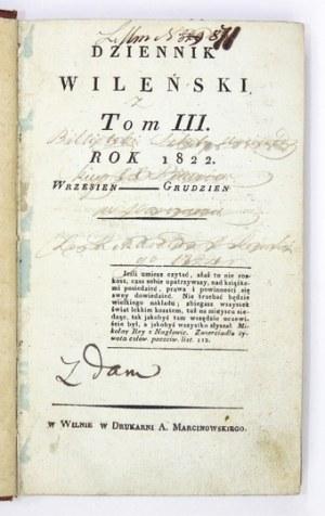 DZIENNIK Wileński. T. 3, IX-XII: 1822.