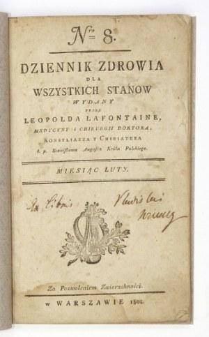 DZIENNIK Zdrowia dla Wszystkich Stanów. Nr 8: II 1802.