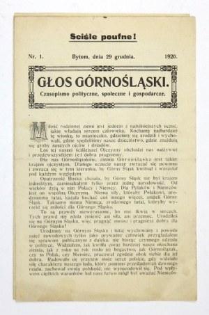 GŁOS Górnośląski. Nr 1: 29 XII 1920.