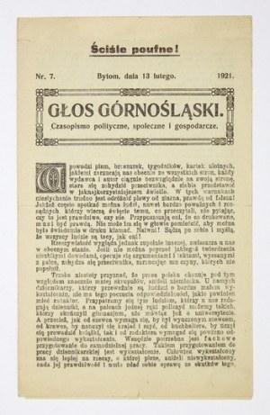 GŁOS Górnośląski. Nr 7: 13 II 1921.