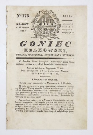 GONIEC Krakowski. Dziennik polityczny, historyczny i literacki. Nr 173 (środa): 15 XII 1830.