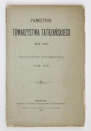 PAMIĘTNIK Tow. Tatrzańskiego, t. 14: 1893.