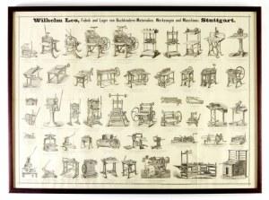 [JAHODA Robert, maszyny introligatorskie]. Plansza reklamująca wyroby niemieckiej firmy Wilhelma Leo ze Stuttgartu.
