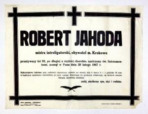 [JAHODA Robert, klepsydra]. Klepsydrazawiadamiająca o śmierci Roberta Jahody: