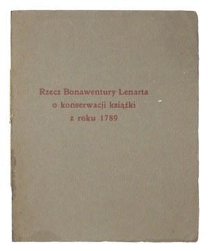 LENART Bonawentura - Rzecz ... o konserwacji książki ze zbiorów W. Frąckiewicza [...]....