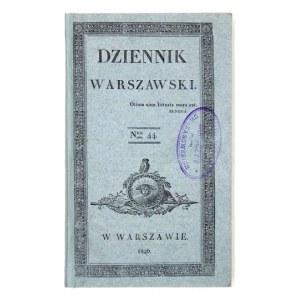 DZIENNIK Warszawski. Warszawa. Nakł. red. 16d. razem zbrosz. z zach. okł. brosz. T. 15: I-III 1829. s. [2],...