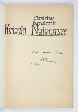 BARAŃCZAK S. – Książki Najgorsze. 1990. Z dedykacją autora.