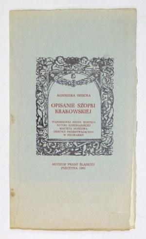 OSIECKA Agnieszka - Opisanie szopki krakowskiej wzniesionej przez mistrza sztuki rzeźbiarskiej Macieja Moszewa obecnie p...