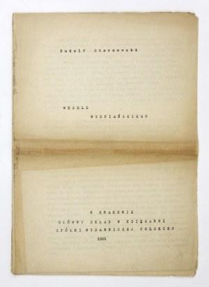 STARZEWSKI Rudolf - Wesele Wyspiańskiego [maszynopis]. Kraków 1901. 4, k. [1], 27....