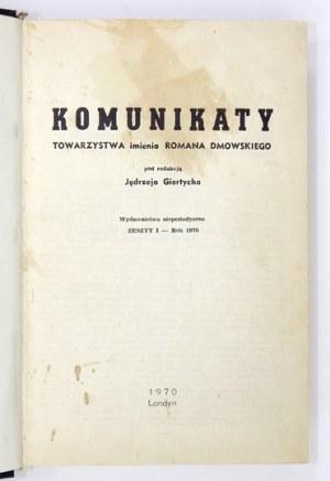 GIERTYCH Jędrzej - Komunikaty Towarzystwa im. Romana Dmowskiego pod red. ... Wyd. nieperiodyczne. Zesz. 1: Rok 1970/...