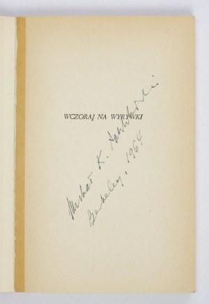 ZBYSZEWSKI Karol - Wczoraj na wyrywki. Londyn 1964. Polska Fundacja Kulturalna. 16d, s. 159, [1]....