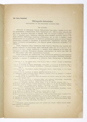 KARPIŃSKI Jan Jerzy - Bibliografia białowieska. Kraków 1948. Druk. W. L. Anczyc i Sp. 4, s. 15. brosz. Odb....